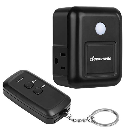 DEWENWILS Remote Control Outlet Plug, Wireless Remote Switch for Electronic Appliances and Holiday Decor, Side Plug, No Interference, 15A/1875W Heavy Duty, 100 Feet RF Range, Black