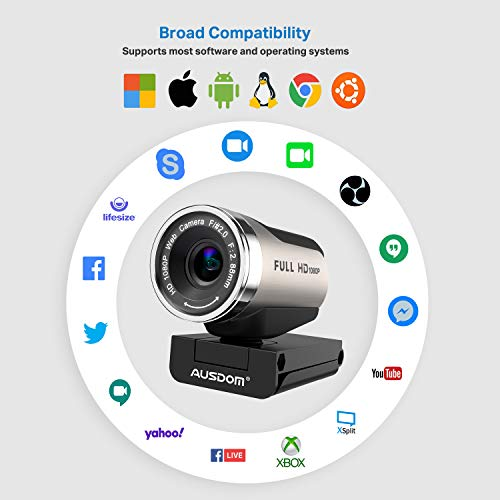 AUSDOM AW615S Webcam mit stativ Full-HD 1080P Videokamera 90° Sichtfeld mit Mikrofon, Belichtungskorrektur USB-Anschluss für Skype, Konferenz, YouTube, PC/Mac/Windows/ChromeOS/Android/OBS/Xsplit/Zoom