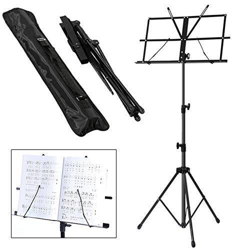 JUEYAN Notenständer Notenpult Orchesterpult Höheverstellbar 50 – 124 cm mit Tasche Metallständer Stativ Schwarz mit Wasserdicht Tragetasche