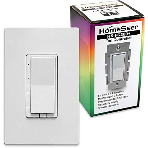 HomeSeer HS-FC200+ Z-Wave Plus Scene-Capable RGB Smart Fan Speed Controller Switch   Built-in Repeater Range Extender   Works with Alexa, Google Home & IFTTT (Hub Required)   Works with SmartThings