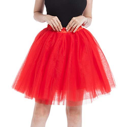 ELECTRI Jupe Femme Ete Chic Tutu Courte Ballet Jupe Maille Plissée De Haute Qualité Douce Élégante Demi-Longueur Danse Jupe