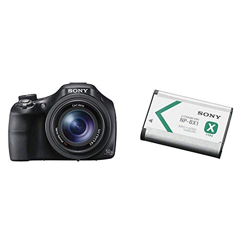 Sony DSC-HX400V Digitalkamera (20.4 Megapixel, 50-fach opt. Zoom, 7,5 cm (3 Zoll), WiFi/NFC) schwarz & NP-BX1 Li-Ion Akku (Typ X, 3,6V, 1240mAh) für Cyber-shot