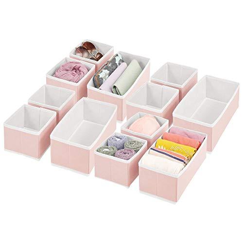 mDesign Juego de 12 Cajas organizadoras – Cestas de Tela de Diferentes tamaños para cajones – Organizadores para armarios para Guardar Calcetines, Ropa Interior y más – Rosa/Blanco