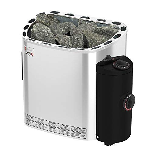 SAWO Scandia 6,0 kW Calefactor eléctrica para sauna; con mandos de funcionamiento incorporados (NB modelo); Multi-Voltaje: ya sea monofásico 230V o trifásico 400V; Carcasa de acero inoxidable