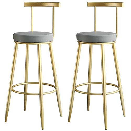CHAIR Stuhl Bar, Cafe, Restaurant Stuhl, Trend Küche und Frühstück Barhocker 2er Set Bar Stuhl Doppel für Theke Pub Café 45/65 / 75Cm Max. Last 200Kg,Grau,45cm
