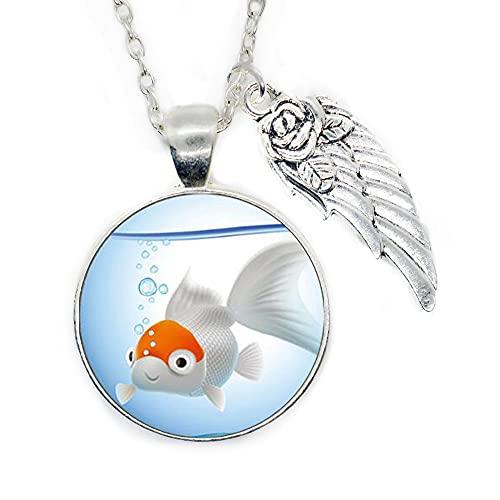 Goldfish Logo Pendant Necklace Animal Picture,Fish Jewelry Necklace Wearable Art Pendant Charm Goldfish Pendant Charm,PU091