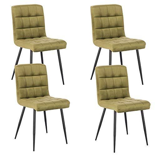 Lestarain 4X Sillas de Comedor Silla de Salón Dining Chairs Tapizadas Sillas de Cocina Nórdicas Asiento de Terciopelo Silla Bar Metal Silla de Oficina Verde Oscuro