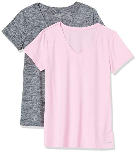 Amazon Essentials 2-Pack Tech Stretch Short-Sleeve V-Neck T-Shirt Camiseta, Negro/Rosa Claro, Teñido Multicolor, S, Pack de 2