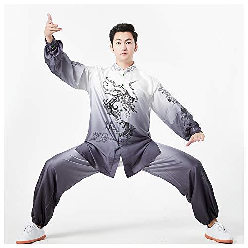 JTKDL Tai Chi Bekleidung Trainingsbekleidung Tai Chi Bekleidung Herren Kampfsportbekleidung Wettkampfkleidung Damen,Grey-XXL
