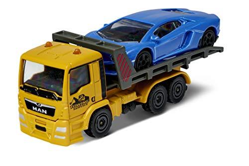Majorette Man TGS-Camión de Remolque, Lamborghini Aventador, Azul, Rueda Libre, Apertura y/o Partes móviles, 13 cm, para niños a Partir de 3 años (212053154Q04)