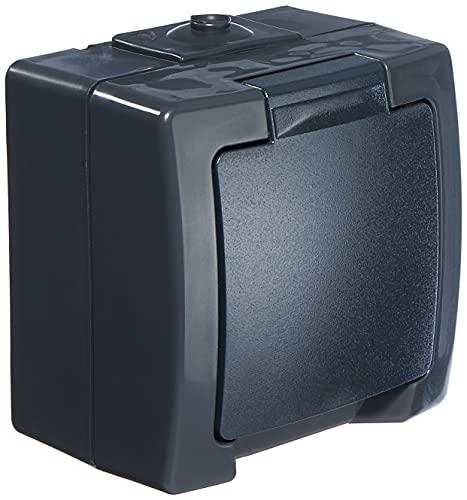 Kopp Nautic 1-Fach Schutzkontaktsteckdose, mit Klappdeckel und erhöhtem Berührungsschutz, Aufputz, für Feuchtraum, 250V (10A), IP44, anthrazit, 107815006, Steckdose