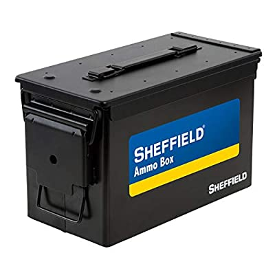 Sheffield 12643 .50 Caliber Tactical Ammo Can, Air Tight & Waterproof Box, Tamper Proof, Stackable Design, Black