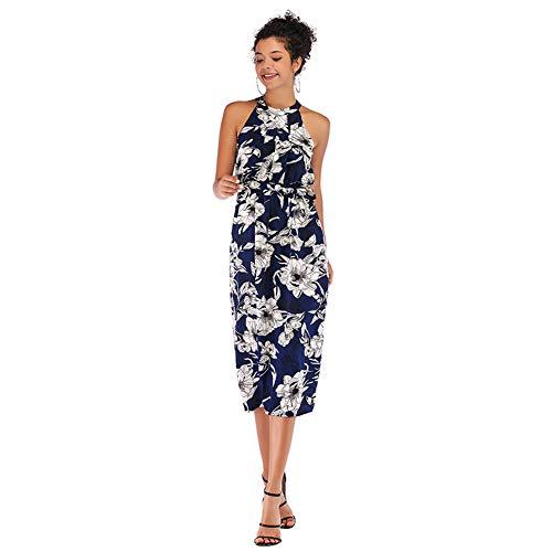 YYH Frauen-Sommer-Sleeveless Strand-Kleid Irregular Lang-Partei-Kleider Chiffon Feriensommerkleid Für Damen,B,S