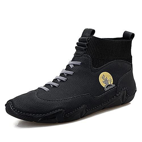 Botas Cortas De Otoño para Hombres, Zapatos De Mesa De Moda, Zapatos Casuales De Estilo Británico,Negro,43