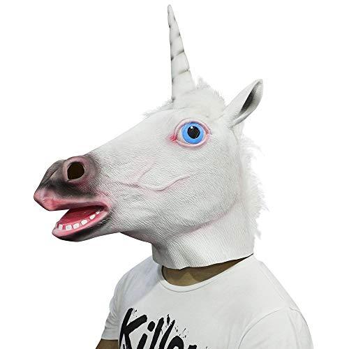 CUSFULL Látex de Caucho Novedad Halloween Traje Caballo Cabeza Máscara Navidad Fiesta Decoraciones Adulto Accesorio del Traje (Unicornio Blanco)