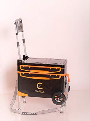 SAROS Angelbox mit Rückenlehne, Angelkoffer mit Räder, Angelbox, Thermobox für Angler, Set Light mit 2 Räder (Orange)