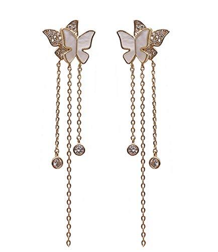 RR-CZY 925 Silver Needle Butterfly Long Tassel Fashion Earrings Female 8Cm