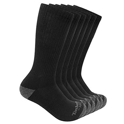 Timberland PRO Herren 6-Pack Performance Crew Length Socks Freizeitsocken, schwarz, Large