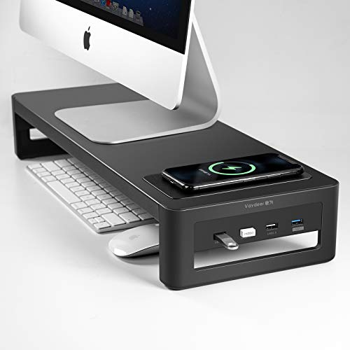 VAYDEER Monitor Stand with Wireless Charger and USB3.0 Ports Support Data Transfer and Charging Keyboard and Mouse Storage Steel Desk Organizer for Laptop Computer Up to 27 inches and 66 pounds