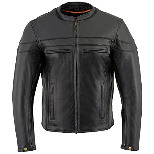 Milwaukee Leather LKM1725 Mens Black Sporty Crossover Scoo...