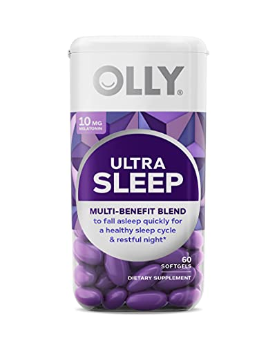 OLLY Ultra Strength Sleep Softgels, 6 mg Melatonin, Supports Deep Restful Sleep, Magnesium, L-Theanine, Chamomile, Lemon Balm, Nighttime Sleep Aid, Non Habit-Forming - 60 Count (Packaging May Vary)