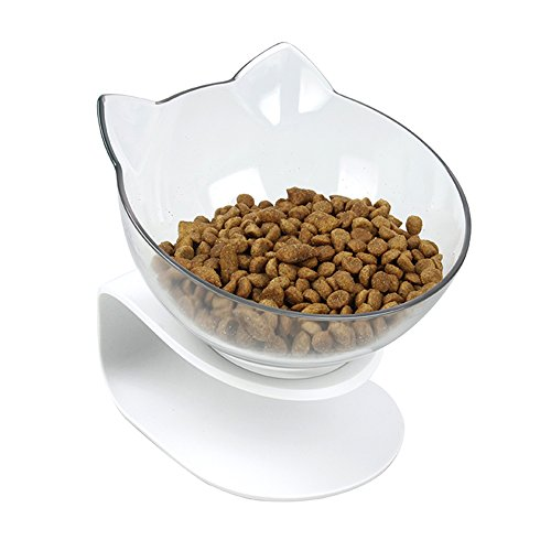 Pethouzz Tilted Raised Posture Cat Food Bowl Elevated Slanted Stand Pet Bowls for Cats and Small Dogs (Single)