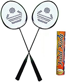 Cosco CB-88 Badminton Racket Pair with Field King Badminton Shuttle Cock Kit (Multicolour) - Pack of 10