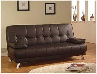 comprar comparacion Mueblix Sofa Cama Tera - Chocolate | Tapizado en Piel sintética Sistema Apertura de Libro o Clic-clac | Cama 120 cm x 195 ...