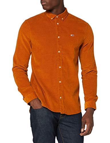 Tommy Jeans TJM Corduroy Shirt Camisa, Caramelo Quemado, M para