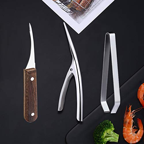 3 Pack Shrimp Deveiner Tool Set, Stainless Steel Shrimp Peelers, Prawn Cleaner Deveiner Knife, Fish Bone Tweezers Pliers Remover Shrimp Seafood Tool for Family (3 Pcs)