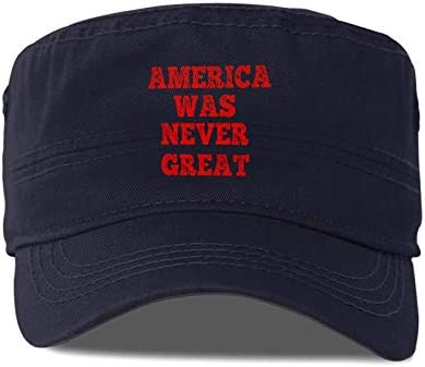 America was Never Great Adult Cap Army Hat Military Flat Top Adjustable Baseball Cap Navy product image
