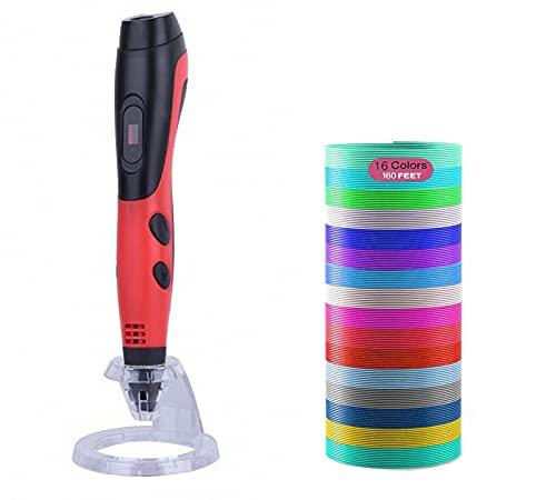 GYAM Penna per Stampa 3D, Penna da Disegno 3D USB 16 Colori di Filamento PLA 3 Livelli di Regolazione della Temperatura/velocità, Compatibile con PLA E ABS, Fai da Te Giocattoli per Bambini,Rosso