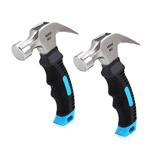2-Pack Small Hammer, 8oz, Quality Polished Beater Head, Eco-friendly TPR Mini Handle, Ideal for Household Work and Outdoor Camping by HEIKIO