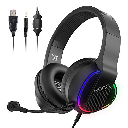 Amazon Brand – Eono USB PC Gaming Headset – Surround Sound with Noise canceling Boom mic, Stereo Sound Over Ear Headphones with RGB Light for PC, Computer, PS4 Console, Laptop