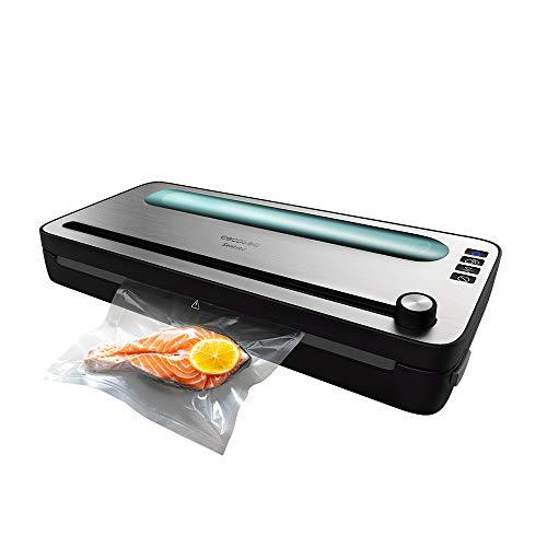 Cecotec Envasadora al Vacío FoodCare SealVac 120 SteelCut. 120 W, Sistema de envasado en 10 seg, Presión de vacío de 0.75 Bar, Acero Inox, Sellado silencioso, 2 Modos, Luz LED, Admite Bolsas genéricas