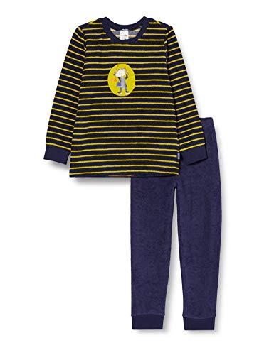 Schiesser Jungen Frottee Rat Henry Kn Schlafanzug Lang Pyjamaset, dunkelblau, 116