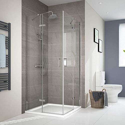 Duschabtrennung 90x90cm Eckeinstieg duschkabine Dusche 6mm ESG Glas Doppel Scharniertür Duschtür mit Beidseitiger Nano Beschichtung Höhe 195cm