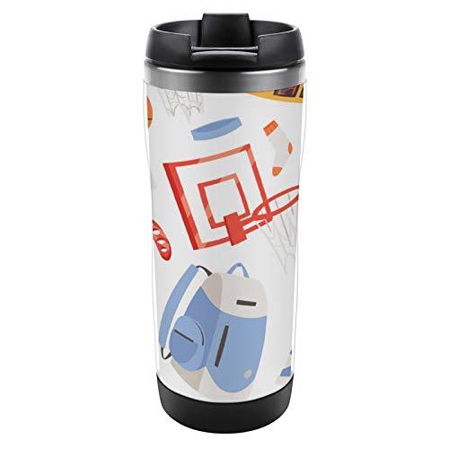 Taza aislada Taza de acero inoxidable con tapa Taza a prueba de fugas Ropa deportiva de vector de baloncesto y pelota en aro de red en la cancha de baloncesto Ilustración de fondo. Taza de café aisl