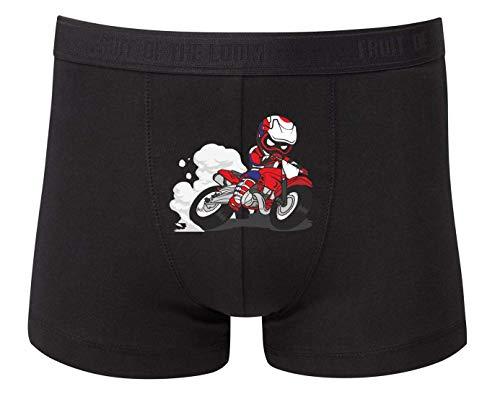 Druckerlebnis24 Boxershort - Motocross Enduro Motorrad Charakter - Unterhose für Herren und Männer
