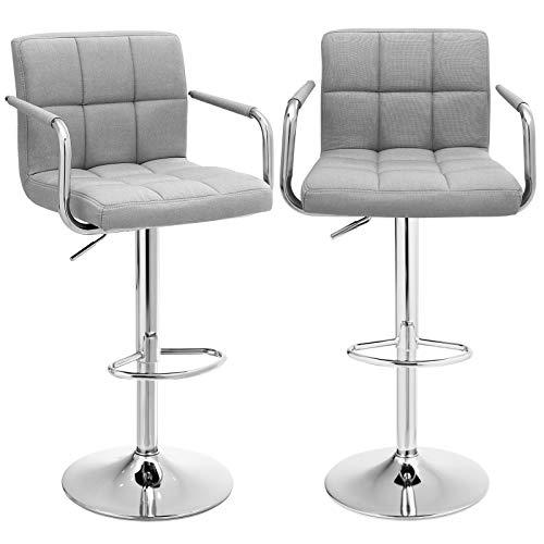 SONGMICS Barhocker 2er Set, höhenverstellbare Barstühle, Barstuhl mit Leinen-Bezug, 360° Drehstuhl, Küchenstühle mit Rückenlehne, Armlehnen und Fußstütze, verchromter Stahl, hellgrau, LJB13GYX