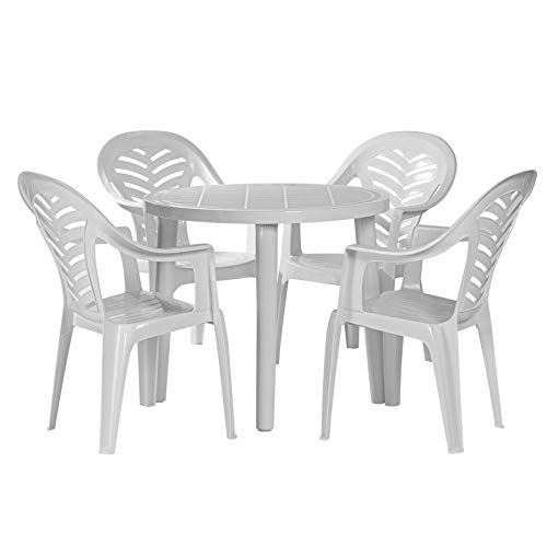 Resol 4 Person Tossa Outdoor Garden Dining Table and Chairs Set - UV Resistant Patio Furniture - White
