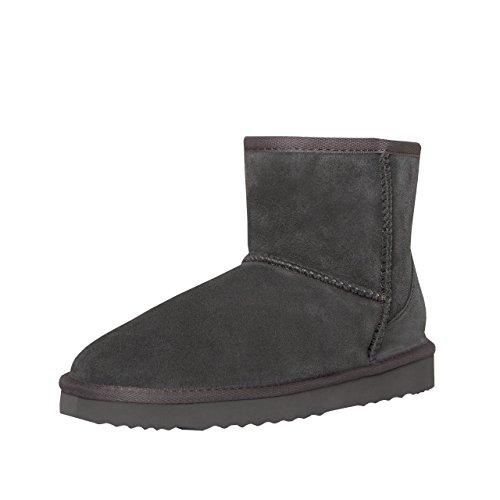 SKUTARI® Classic Boots, Wildlederstiefel mit kuscheligem Kunstfell, gemütliche Damen-Stiefel aus Leder, handgefertigt in Italien, Winterschuhe, Schlupfstiefel, Stiefeletten warm gefütte(41 EU, Grau-2)