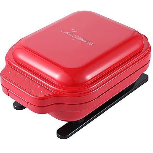 bas Sandwichtoaster, 600W, Brotbackautomaten, Automatischer Temperaturregler, Sandwich Paninitoaster, Antihaftbeschichtung für Omelett Crêpe Red