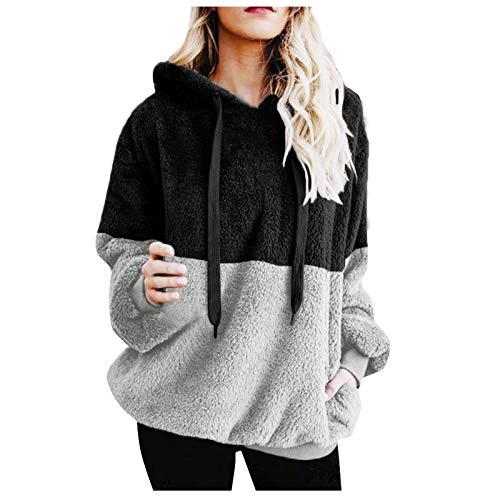 Mujer Caliente y Esponjoso Tops Chaqueta Suéter Abrigo Jersey Mujer Otoño-Invierno Talla Grande Hoodie Sudadera con Capucha riou (1-Negro, XL)