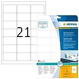 HERMA 5074 Adressaufkleber DIN A4 ablösbar (63,5 x 38,1 mm, 25 Blatt, Papier, matt) selbstklebend, bedruckbar, abziehbare und wieder haftende Adress-Etiketten, 525 Klebeetiketten, weiß