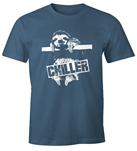 MoonWorks Lustiges Herren T-Shirt Faultier Born Chiller Sloth Fun Shirt Denim M