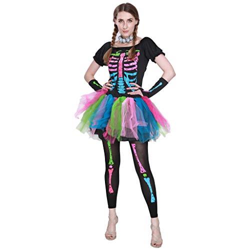 EraSpooky Mujer Miedoso Punky Huesos Disfraz Esqueleto Vistoso Tutu Vestir Halloween Fiesta Lujoso Vestir