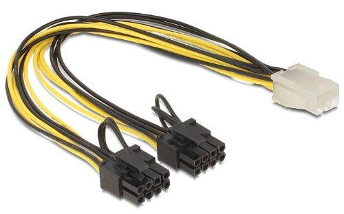 DeLOCK 83433 Cable de alimentación Interna 0,3 m - Cables de alimentación Interna (0,3 m, pci-e (6+2 Pin), pci-e (6-Pin), Macho/Hembra, Negro, Blanco, Amarillo).
