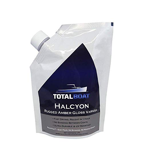 TotalBoat-513021 Halcyon Marine Varnish (Clear Amber, Quart) | Water-Based Polyurethane Wood Finish | Clear Gloss UV Protection for Interior and Outdoor Use