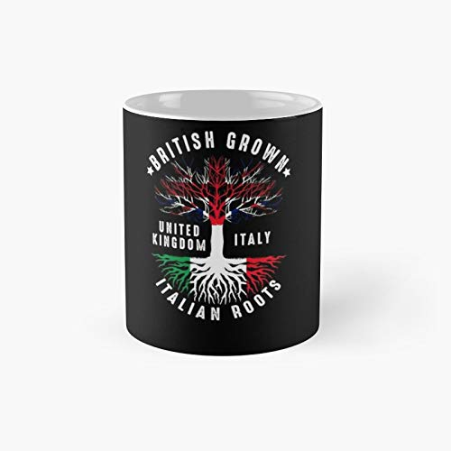 British Grown Italian Roots Italy UK Flag Classic Mug | Best Gift Funny Coffee Mugs 11 Oz